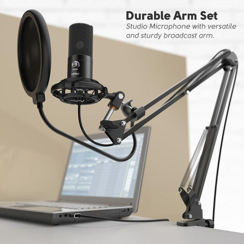 FIFINE Studio Condenser USB Computer Microphone Kit With Adjustable Scissor Arm Stand Shock Mount