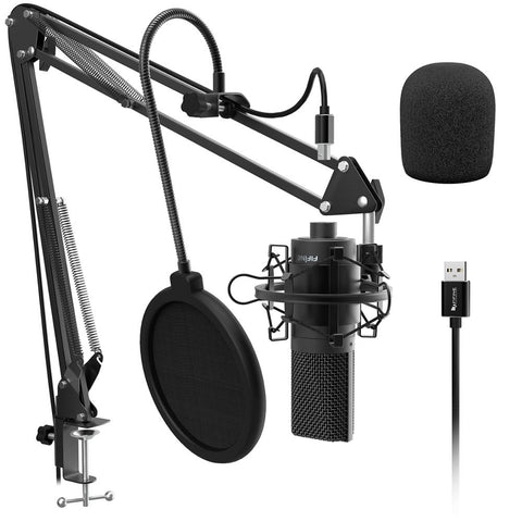 FIFINE USB Condenser PC  Microphone with Adjustable desktop mic arm &shock mount for  Studio