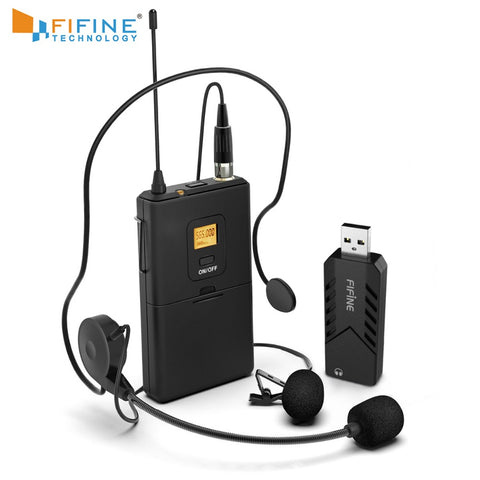 FIFINE Wireless Lavalier Microphone for PC Mac with USB Receiver Free Your Hands for Interview