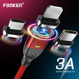 FONKEN Magnetic Cable Micro USB Cable Type C Charger Phone Cables for iPhone Samsung Huawei Xiaomi