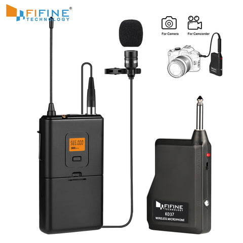 Fifine 20-Channel UHF Wireless Lavalier Lapel Microphone System with Bodypack Transmitter Lapel Mic