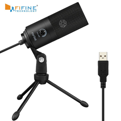 Fifine Metal USB Condenser Recording Microphone For Laptop MAC Or Windows Cardioid Studio