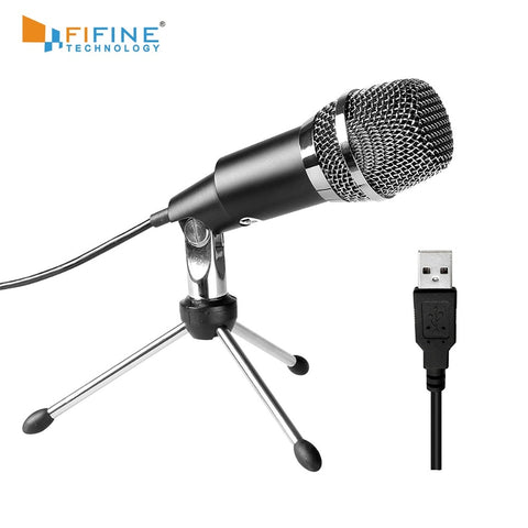 Fifine Plug &Play Home Studio USB Condenser Microphone for Skype, Recordings for YouTube, Google