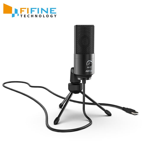 Fifine USB Condenser game Microphone For Laptop Windows Studio Recording  Built-in sound card