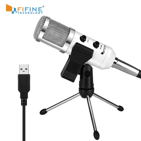Fifine USB Microphone, Plug & Play Condenser Microphone For PC/Computer Podcasting one line