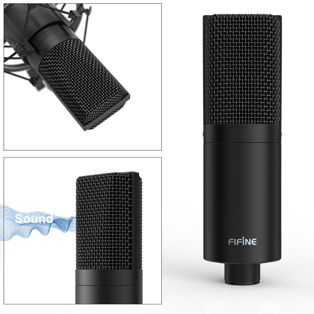 Fifine USB PC Condenser Microphone with Adjustable desktop mic arm shock mount for  Studio Recording