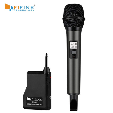 Fifine Wireless Microphone System with Portable Receiver 1/4'' Output, Selectable UHF Channels.