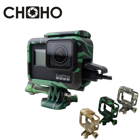 For Gopro Frame Case Shell Protector Housing Army Green + Lone Screw + Base Mount