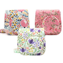 Fujifilm Instax Mini 9 Mini 8 Camera Case Floral Print PU Leather Instant Camera Shoulder Strap Bag Protective Cover Carry Pouch