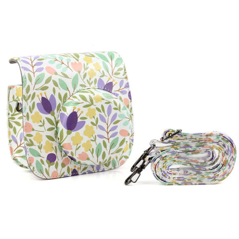 Fujifilm Instax Mini 9 Mini 8 Camera Case Floral Print PU Leather Instant Camera Shoulder Strap