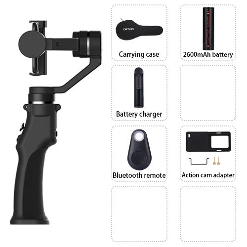 Funsnap Capture 3 Axis Handheld Gimbal Stabilizer for mobile phone xiaomi iphone x XR 8 7 gopro 7