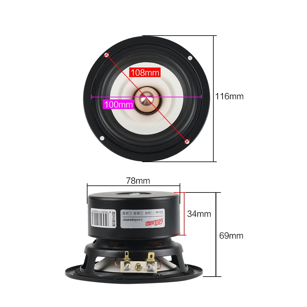 GHXAMP 2PCS 4 INCH Full Range Speaker Bullet Rubber Tweeter MID Woofer Speaker Hifi Home Theater 2.0