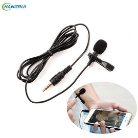 HANGRUI Mini Microphone Clip-on Lavalier 3.5mm Condenser Microphone Voice recorder Studio Lapel