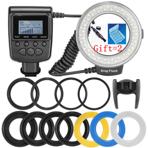 HD-130 48pcs Macro LED Ring Flash Bundle with 8 Adapter Ring for Canon Nikon Pentax Olympus