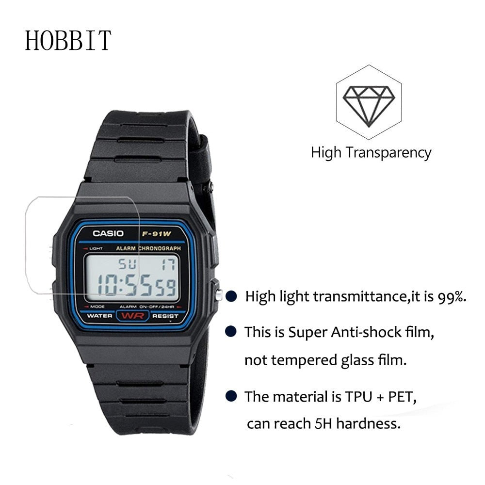 3PACK Nano Explosion-proof Screen Protector For Casio Men's Classic F91W-1 High Definition