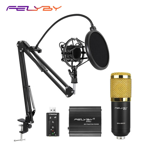 HOT! FELYBY BM 800 Professional Condenser Microphone for Computer Audio Studio Vocal Rrecording
