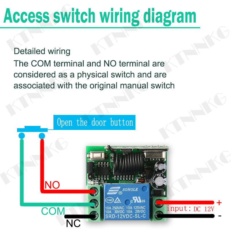 4pcs/set DC 12V 1Gang Remote Relay Module Wireless Electronic Door Relay Switch RF 433MHz Remote