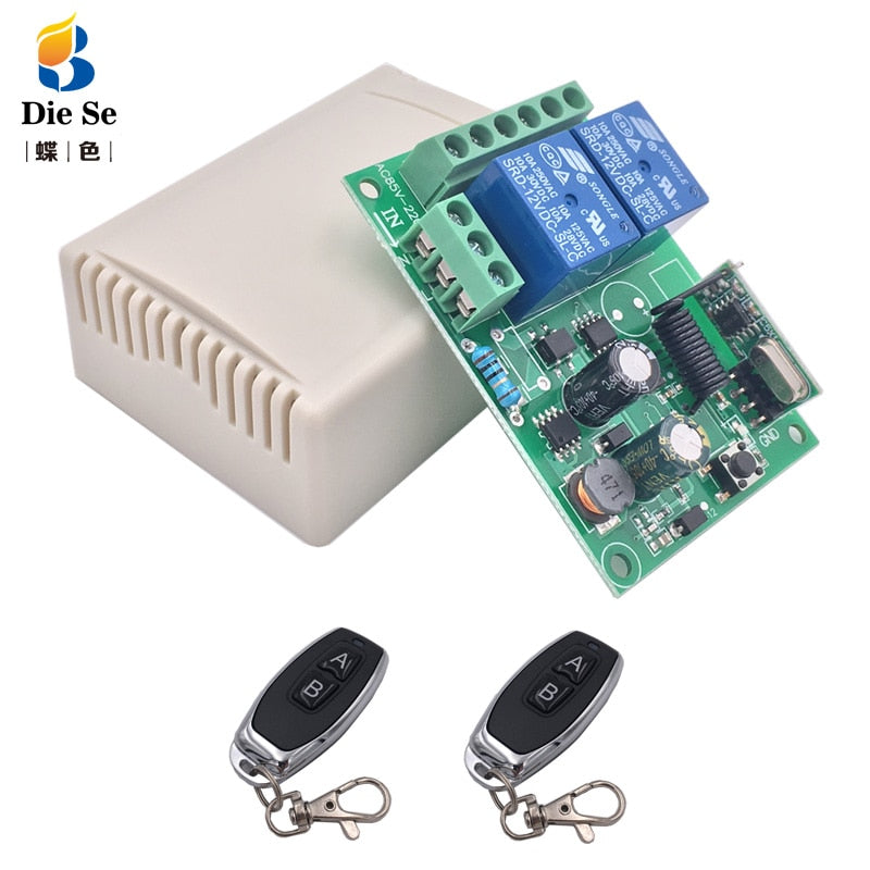 433Mhz Remote Control Switch for Light,Door, Garage Universal Remote AC 85V ~ 250V 110V 220V 2CH