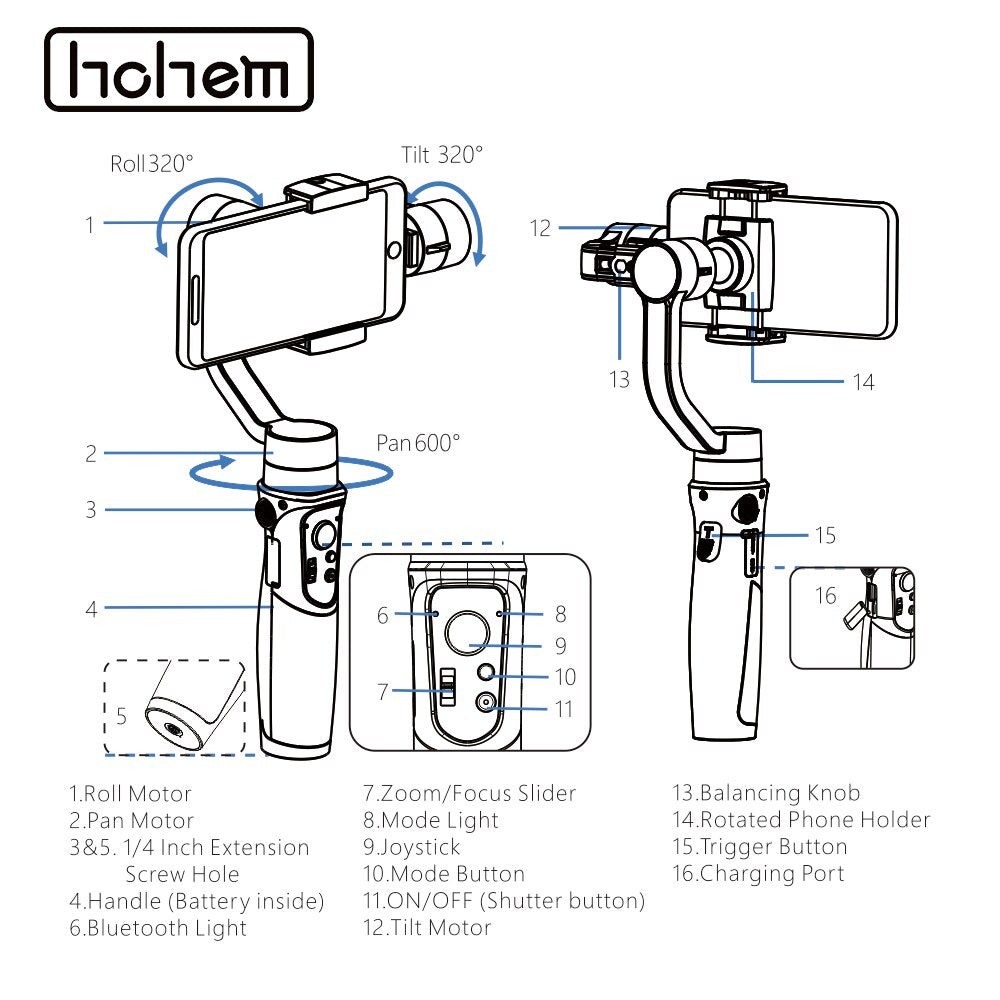 Hohem Smartphone Gimbal iSteady Mobile Plus 3-Axis Handheld Stabilizer for iPhone 11 X 8 7 6&