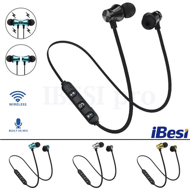 IBESI XT11 Wireless Headphone Magnetic Bluetooth Earphone Neckband Sport Bass Headset Handsfree