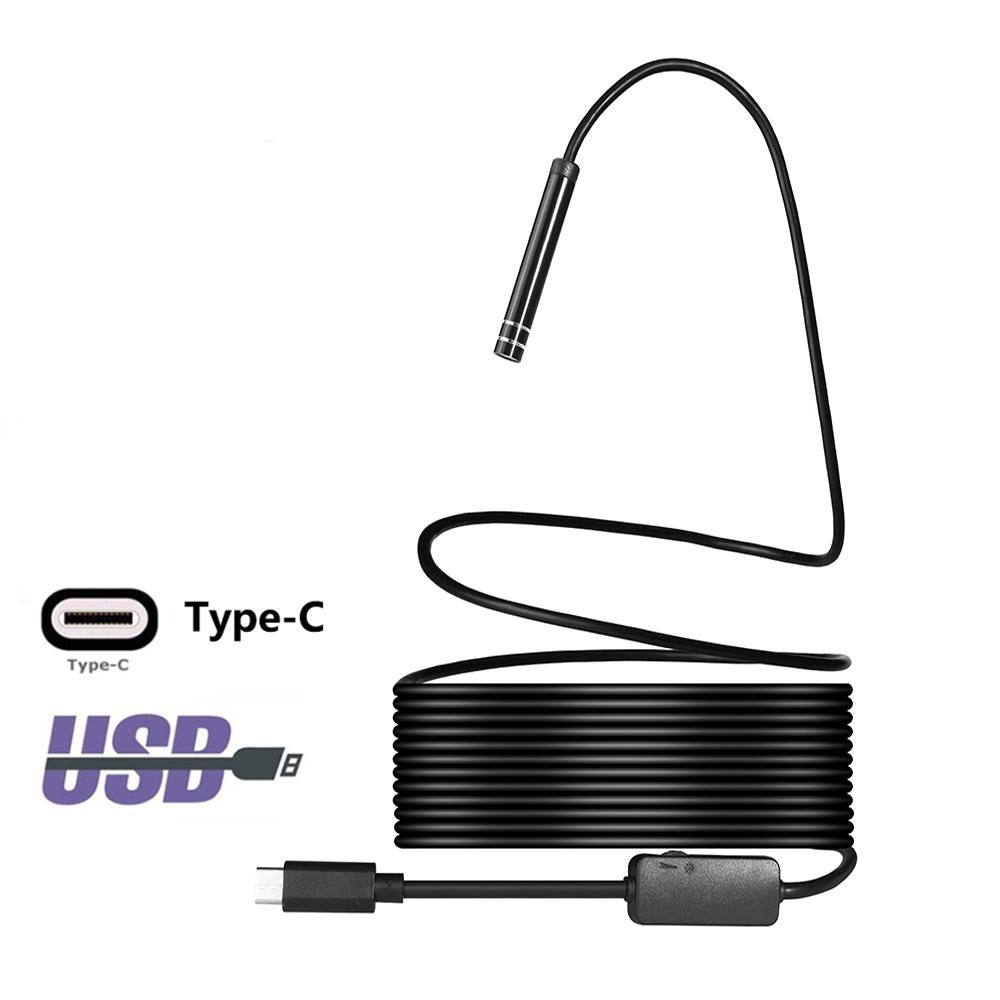 JCWHCAM USB TYPE-C Endoscope Inspection Camera 5.5/7/8mm 1M 3M 5M Flexible Snake Cable Type C
