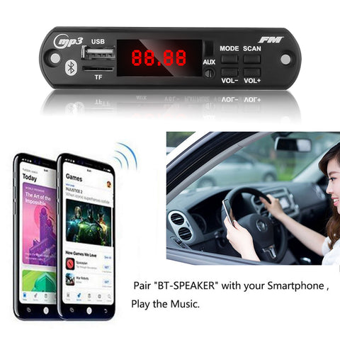 KEBIDU 5V 12V Automobile Car Bluetooth MP3 WMA USB/SD/FM/AUX Decoder Board Plate Audio Module