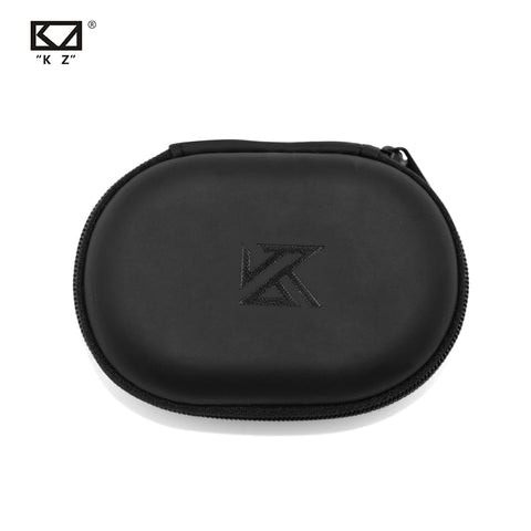KZ Oval logo Storage Bag Headphones PU Zipper Storage Box Black Portable Hold Storage Box Suitable