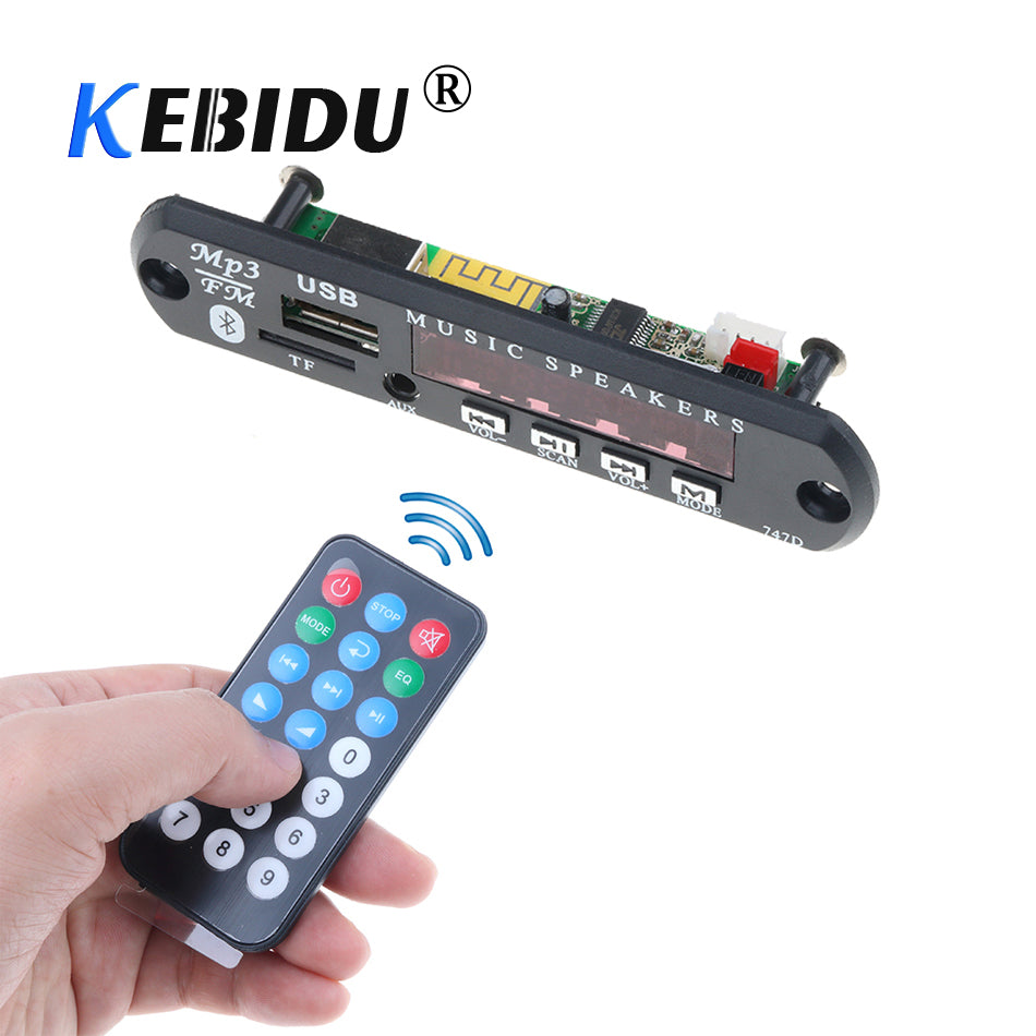 Kebidu DC 5V 12V Wireless Bluetooth MP3 WMA Decoder Board Audio Module USB TF Radio Car Music MP3