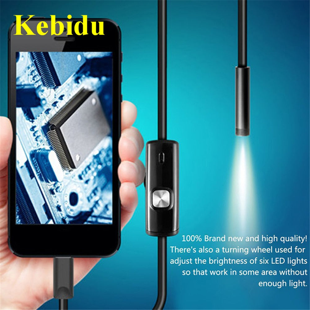 Kebidu USB Endoscope Waterproof 6 LED 1m 7mm Phone Endoscope 720P HD Borescope Snake Inspection Tube
