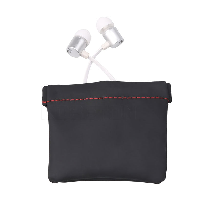 Kebidumei Mini Portable PU Leather Earphone Bag Headphone Accessories Storage Mini Earbuds