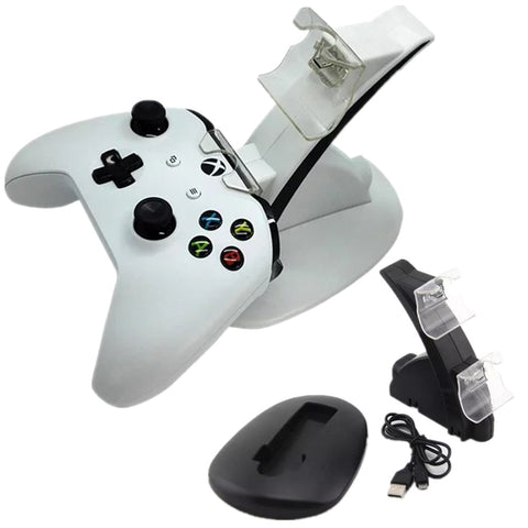 LED 2 Dock Charging Station Stand For Xbox One S Game Console Gamepad Gaming Controller White