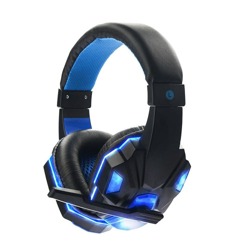 LED Wired Headphone Live Chat Gaming Headset with Microphone Adjustable Volume Headband for