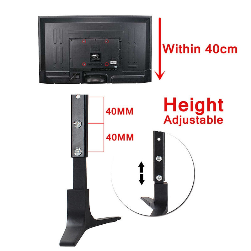 LEORY TV Stand Base Alloy+ Steel Plasma LCD Flat Screen Universal Table Top Pedestal Mount 32-55""