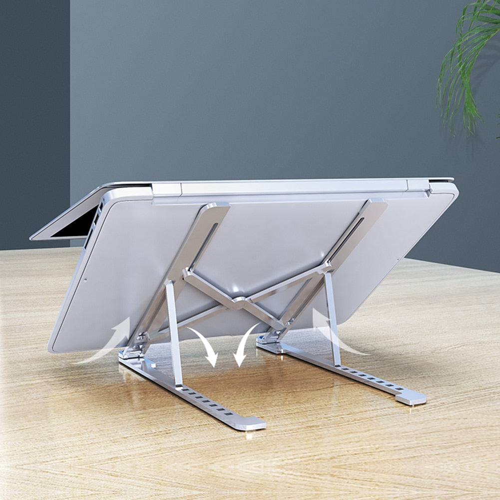 Laptop Stand Portable Heights Adjustable Aluminum AlloyDesktop Ventilated Cooling Holder Folding