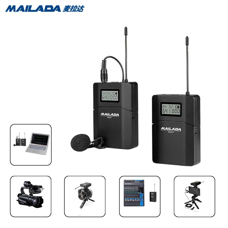 Mailada WM8 Professional UHF Wireless Microphone System Video Recording Lavalier Lapel Mic