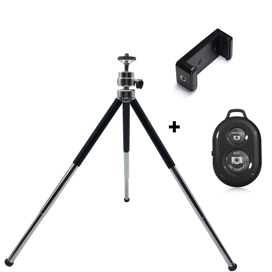Metal Mini Tripod With Phone Holder Bluetooth Remote For Iphone Xiaomi Samsung Android Phones Tripod