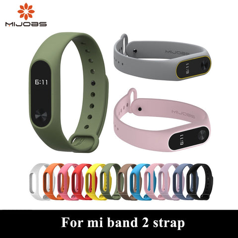 Mijobs mi band 2 Strap Bracelet Accessories Pulseira Miband 2 Replacement Silicone Wriststrap