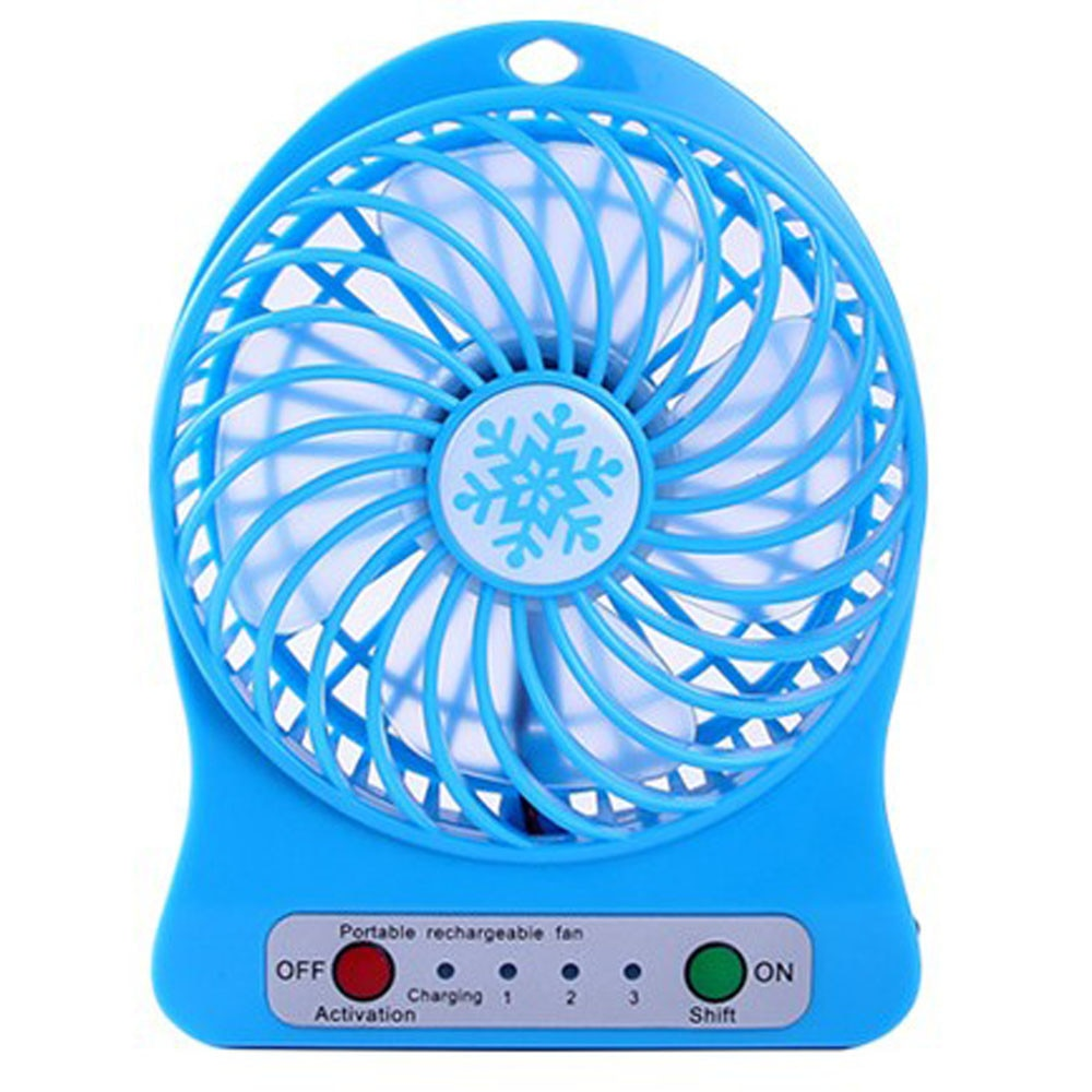 Mini 4 Blade Fan Portable Rechargeable LED Fan air Cooler Mini Operated Desk USB Charging Quiet Work