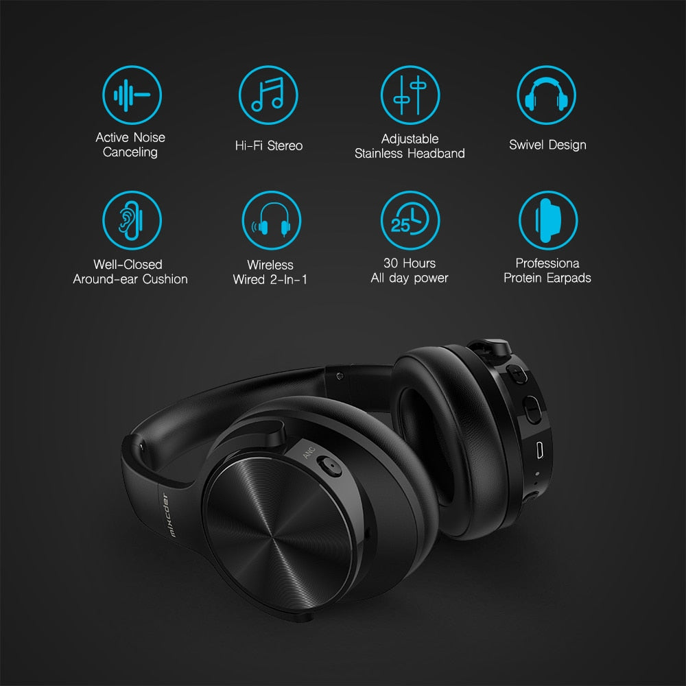 Mixcder E9 Active Noise Cancelling Wireless Bluetooth Headphones 30 hours Playtime Bluetooth Headset