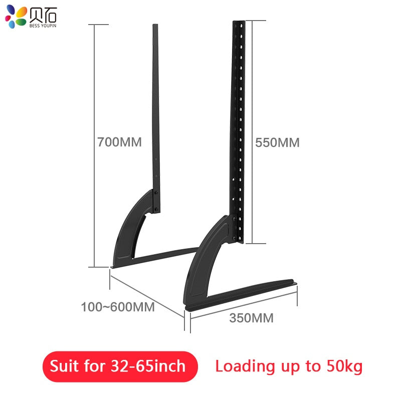 "Mount 32-65"" Height Adjustable Universal TV Stand Base Alloy + Steel Plasma LCD Flat Screen Table"