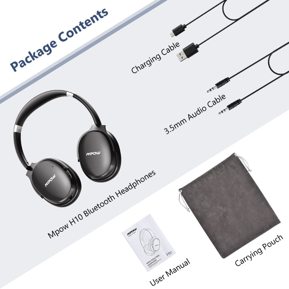 Mpow H10 Active Noise Cancelling Bluetooth Wireless Headphones 18-25H Playing Time ANC Headset