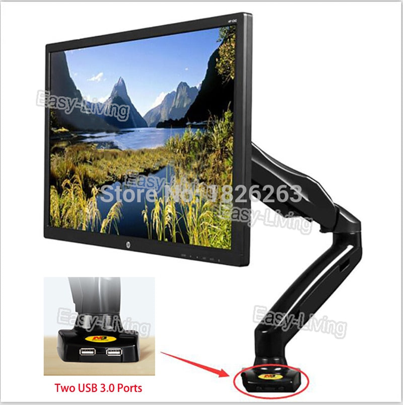 "NB F80 U Desktop Gas Spring 17-27"" LCD LED Monitor Holder Mount Arm with Two USB 3.0 Full Motion"