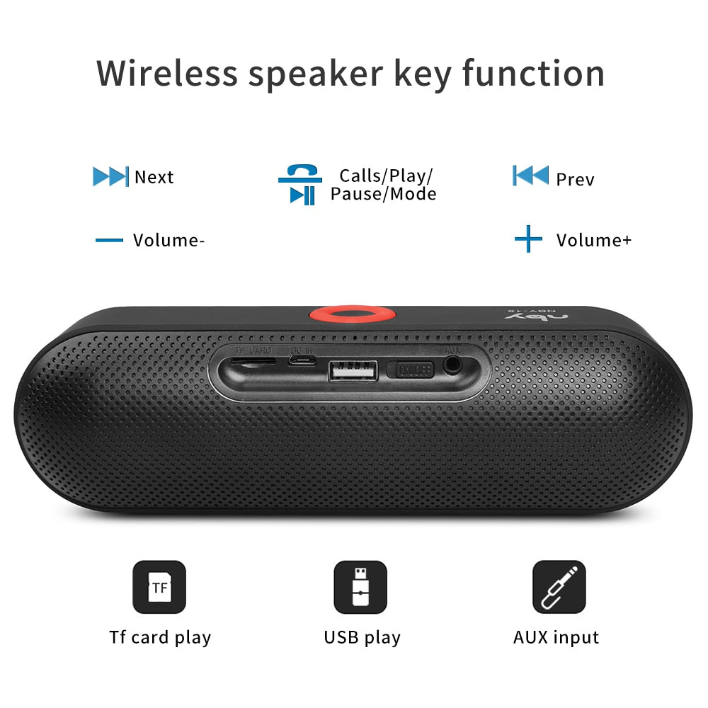 NBY S18 Portable Bluetooth Speaker with Dual Driver Loudspeaker,12 Hours Playtime,HD Audio Subwoofer