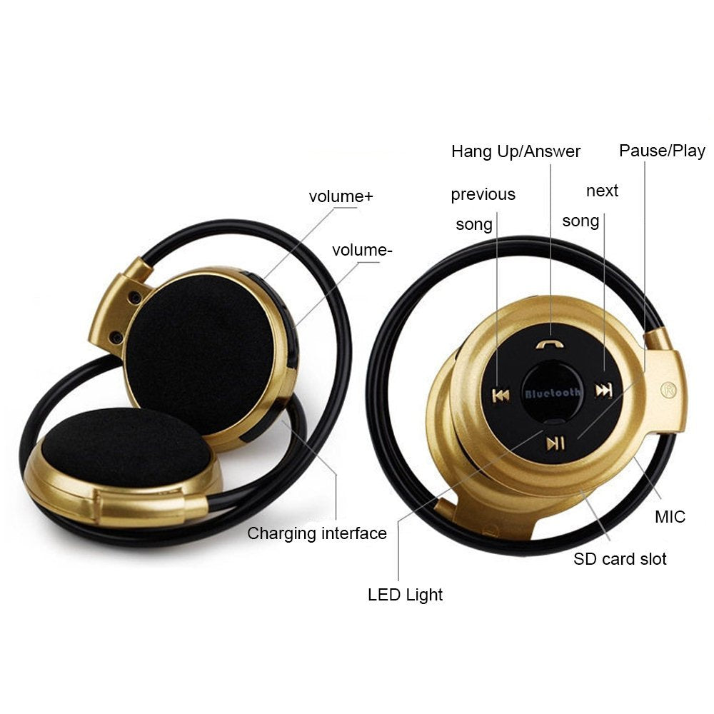 NVAHVA Stereo Wireless Headphone MP3 Player, Sports Bluetooth Headset With FM Radio Card MP3