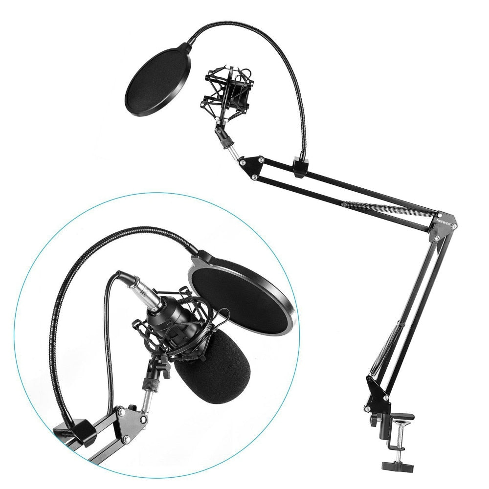 Neewer NB-35 Microphone Scissor Arm Stand Mic Clip Holder and Table Mounting Clamp&NW Filter