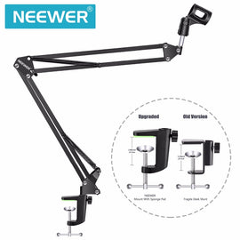 Neewer NB-35 Microphone Scissor Arm Stand Mic Clip Holder and Table Mounting Clamp&NW Filter Windscreen Shield & Metal Mount Kit