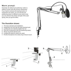 Neewer NB-35 Microphone Suspension Arm Stand Clip Holder and Table Mounting Clamp Pop Filter Windscreen Mask Shield Clip Kit