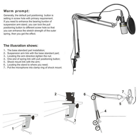 Neewer NB-35 Microphone Suspension Arm Stand Clip Holder and Table Mounting Clamp Pop Filter