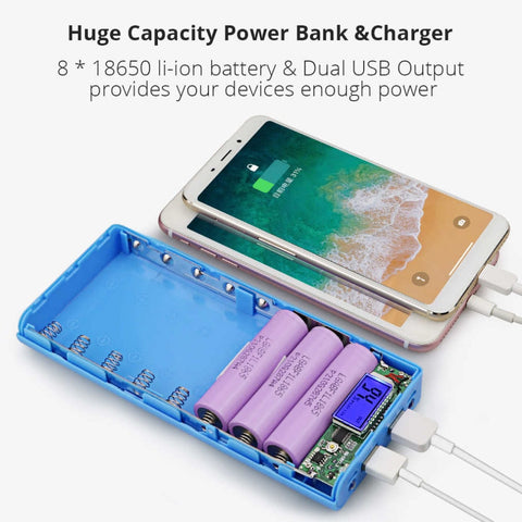 New DIY 8x18650 Portable Battery Power Bank Shell Case Box LCD Display Dual USB Powerbank Box KIT