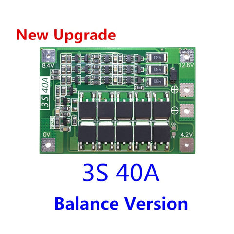 New Upgrade 3S 40A BMS 11.1V 12.6V 18650 lithium battery protection Board with balanced Version for